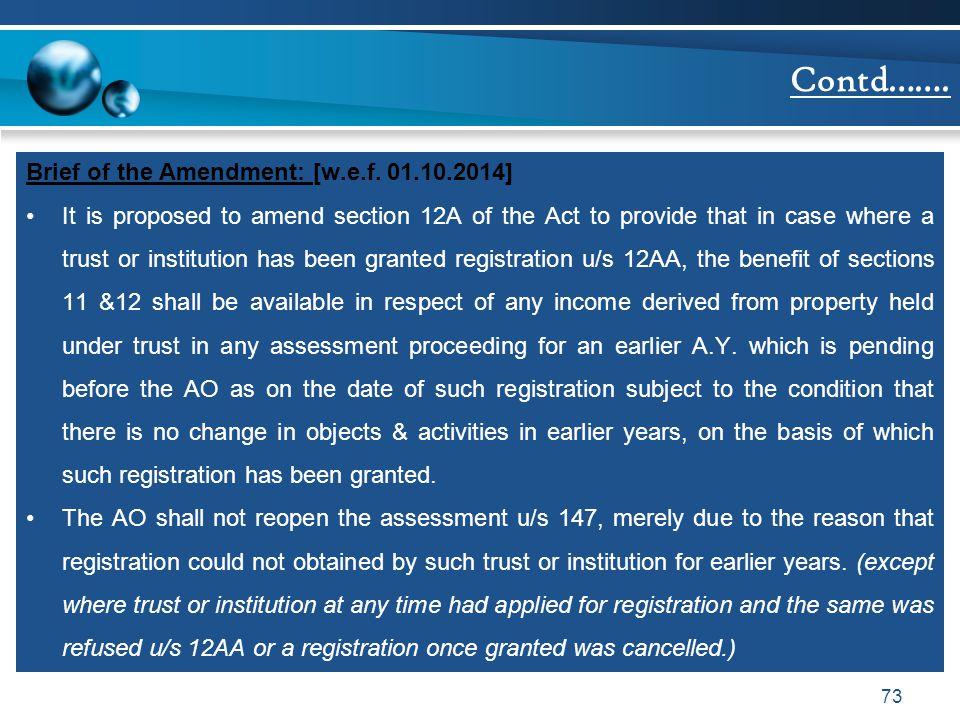 Contd……. Brief of the Amendment: [w.e.f. 01.10.2014]